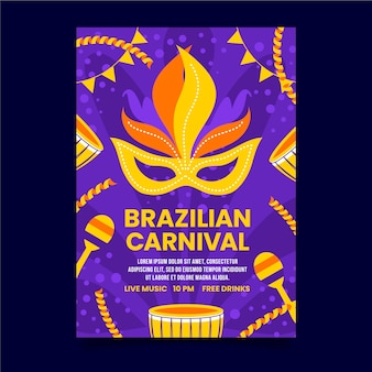 Бразильский карнавальный плакат партия желтой и оранжевой маски
