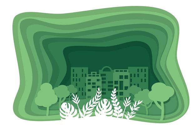 Экология зеленая концепция в бумажном стиле