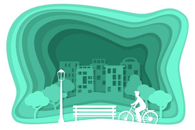 Экология синий концепт в бумажном стиле