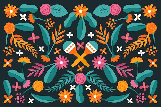 カラフルなフラットデザインメキシコの背景