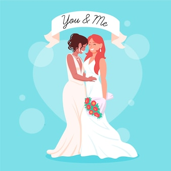 結婚式のカップルの手描きイラスト