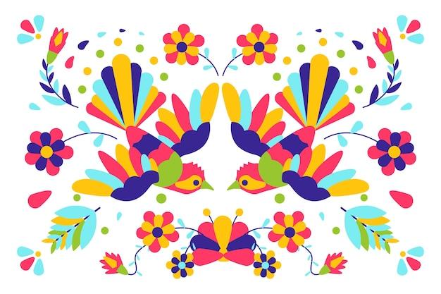背景のフラットなデザインのカラフルなメキシコのテーマ