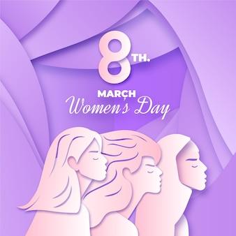 紙のスタイルコンセプトの女性の日イベント