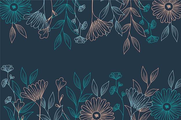 黒板背景に花の図面