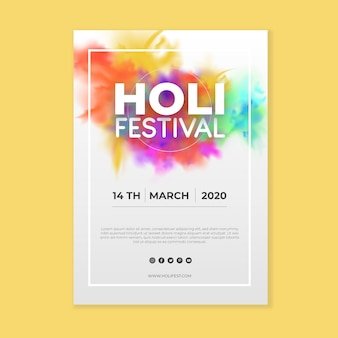 Реалистичный шаблон флаера фестиваля холи