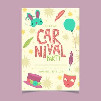 Нарисованный рукой флаер карнавальной вечеринки