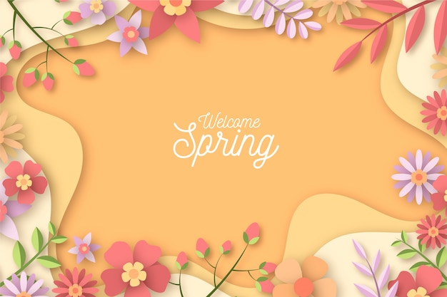 カラフルな紙のスタイルで春の背景
