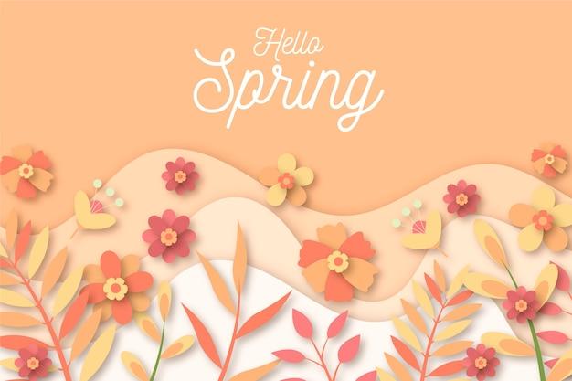 春のカラフルな紙のスタイルの背景