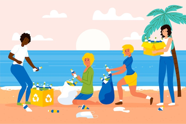 ゴミビーチの清掃人
