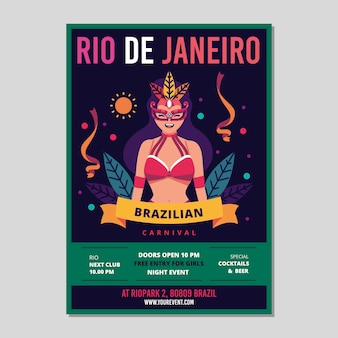 Плоский дизайн бразильский плакат шаблон темы