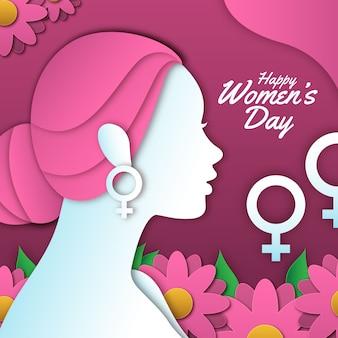 色とりどりの花で紙のスタイルで幸せな女性の日