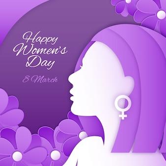 Счастливый женский день в бумажном стиле с цветами