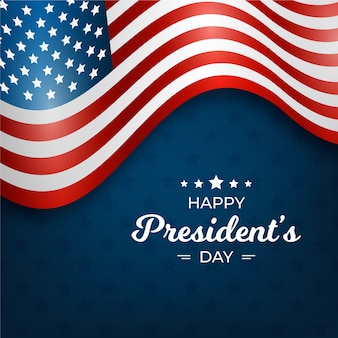 Счастливый президентский день с реалистичным флагом