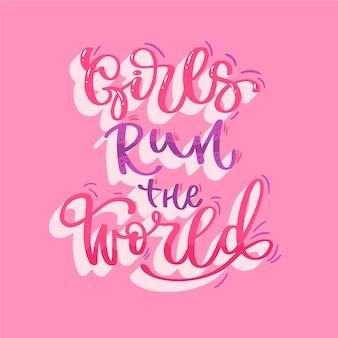 ピンクの女性の日をレタリング