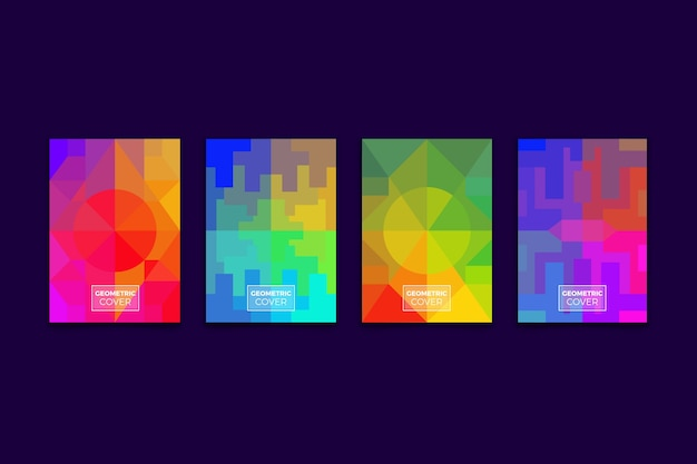 Коллекция красочных абстрактных геометрических обложек