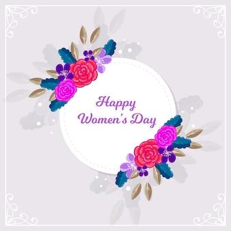 色とりどりの花の幸せな女性の日