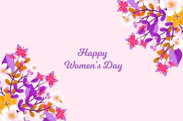 フラットなデザインでカラフルな花柄の幸せな女性の日