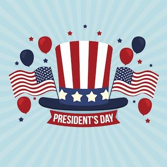 大統領の日の概念のフラットの図