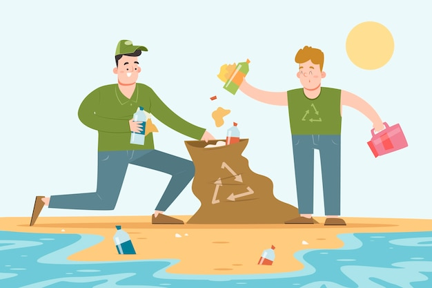 ジャンクのビーチを掃除する人々