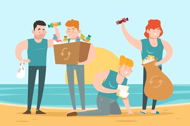 ごみの浜辺清掃人