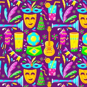 Плоский бразильский карнавал красочным узором