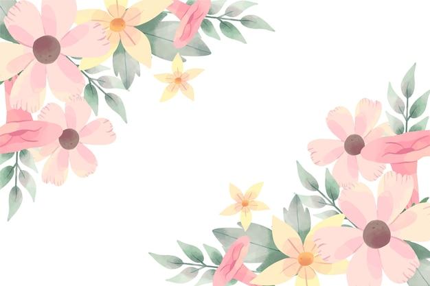 パステルカラーの水彩花の美しい背景