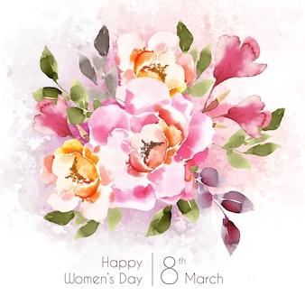 美しいピンクの花を持つ女性の日のレタリング