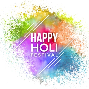 白い線で水彩の鮮やかな色のホーリー祭