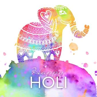 象と水彩の鮮やかな色ホーリー祭
