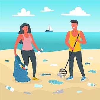 ビーチの掃除を楽しむ人々