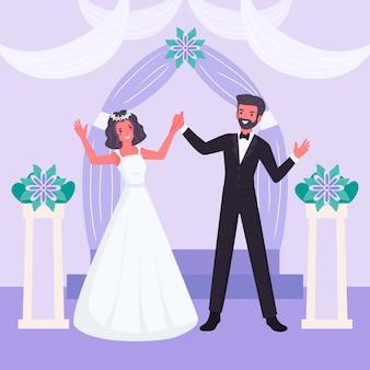 Жених и невеста выходят замуж