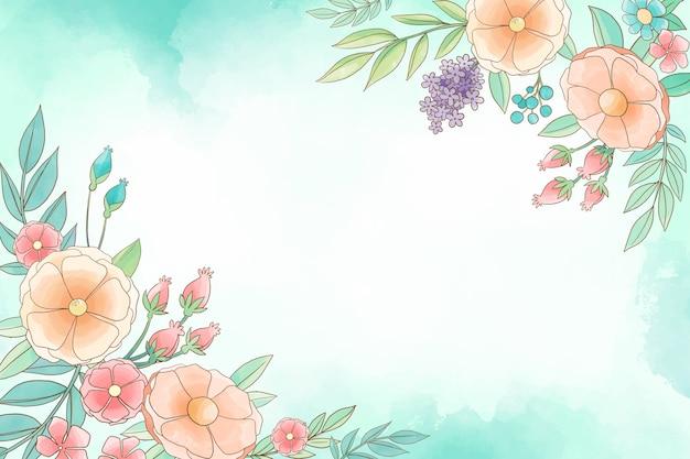 背景の水彩画の花のテーマ