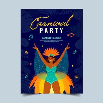 Ручной обращается шаблон бразильский карнавал плакат