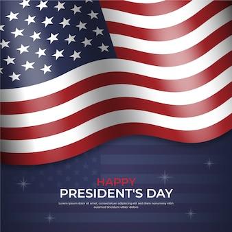 Счастливый президентский день с реалистичным флагом и звездами