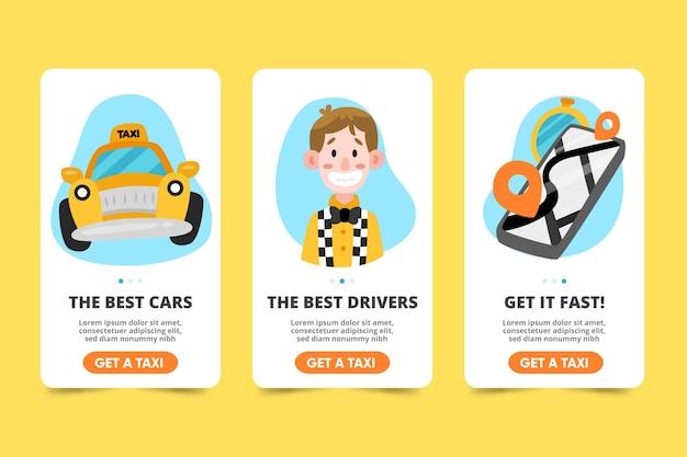 タクシーサービスのオンボーディングアプリ画面コレクション