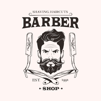 明るい背景に理髪店のロゴ