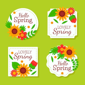 Плоский дизайн коллекции весенних значков