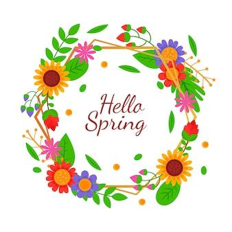 花のフレームとフラットなデザイン春コンセプト