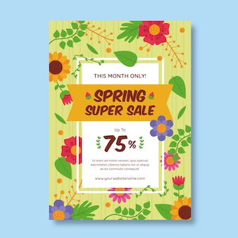 フラットなデザインの春のチラシ販売テンプレートテーマ