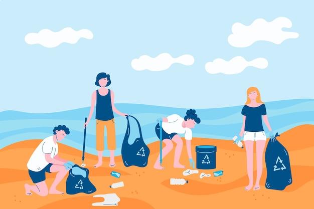 Люди, очищающие тему пляжа иллюстрации