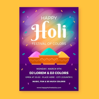 Плоский дизайн праздничной вечеринки холи с красочной порошковой краской