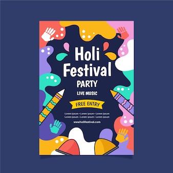 カラフルなデザインの手描き祭ポスター