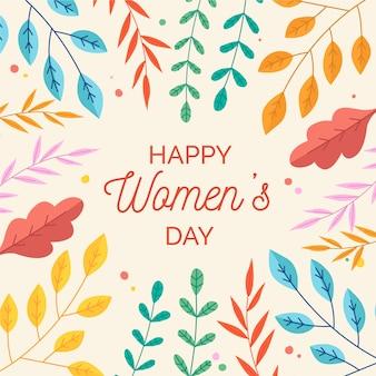 カラフルな葉を持つ花の女性の日