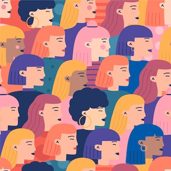 女性のシームレスなパターンの混雑した公衆