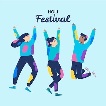 青色の背景にホーリー祭を祝う人々