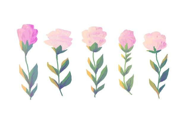 カラフルな水彩画の春の花のコレクション