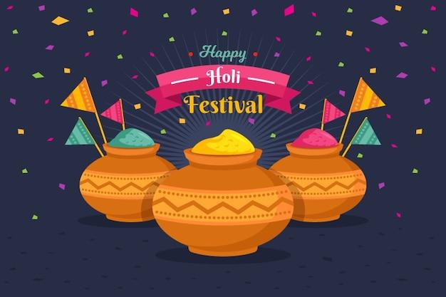 フラットなデザインのホーリー祭