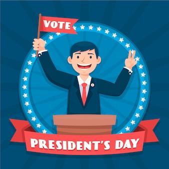 Президентский день в плоском дизайне