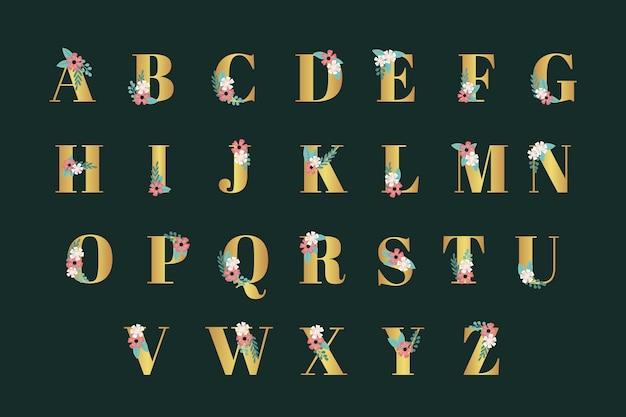 Золотой алфавит с элегантными цветами для свадьбы