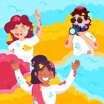 ホーリー祭イベントを祝う人々